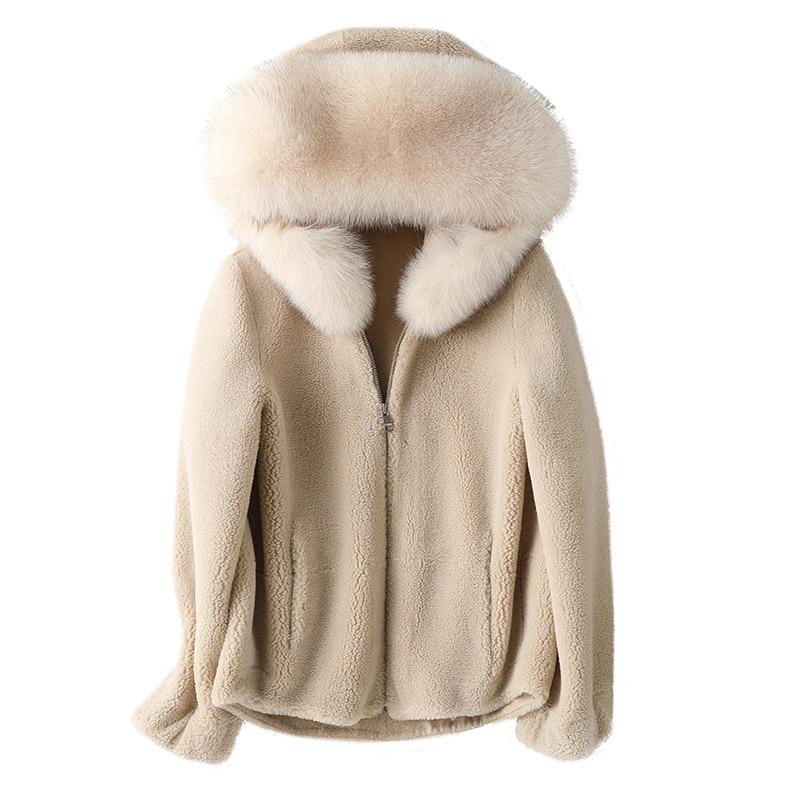 2020 New  Winter Big Fur Collar Granule Sheep Shearing Coat Korean Version Of The Long Hooded Fur Coat Large Size