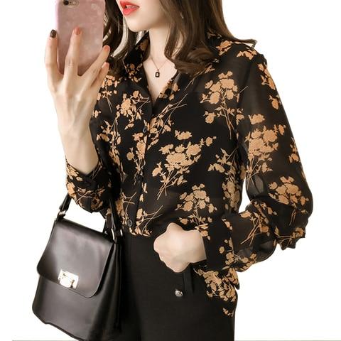 Womens Long Sleeve Autumn Floral Blouse Work Office Button Up Blouse Women Shirt and Blouses Pakistan