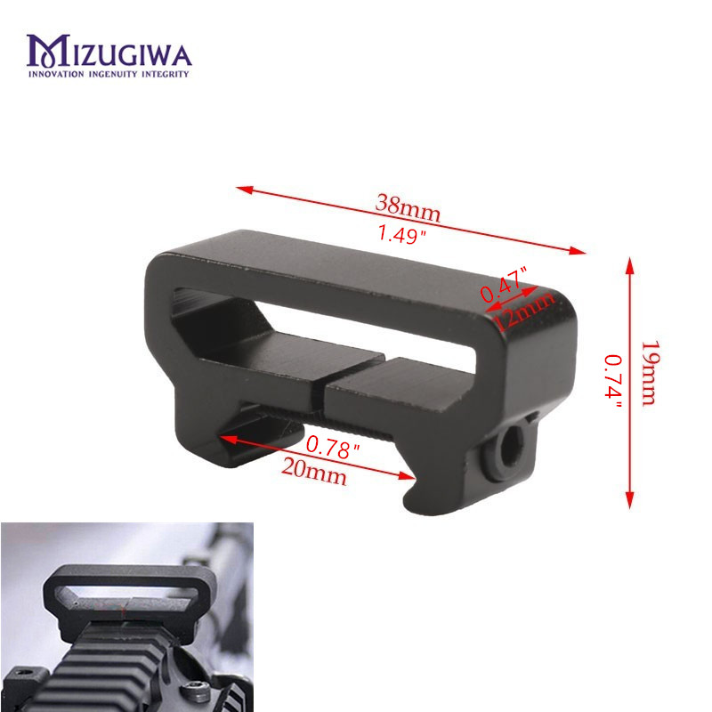 MIZUGIWA Tactical Hunting Sling Attachment W 20mm Weaver Picatinny Rail Mount Adapter Scope Rifle Pistol Gun Accessories