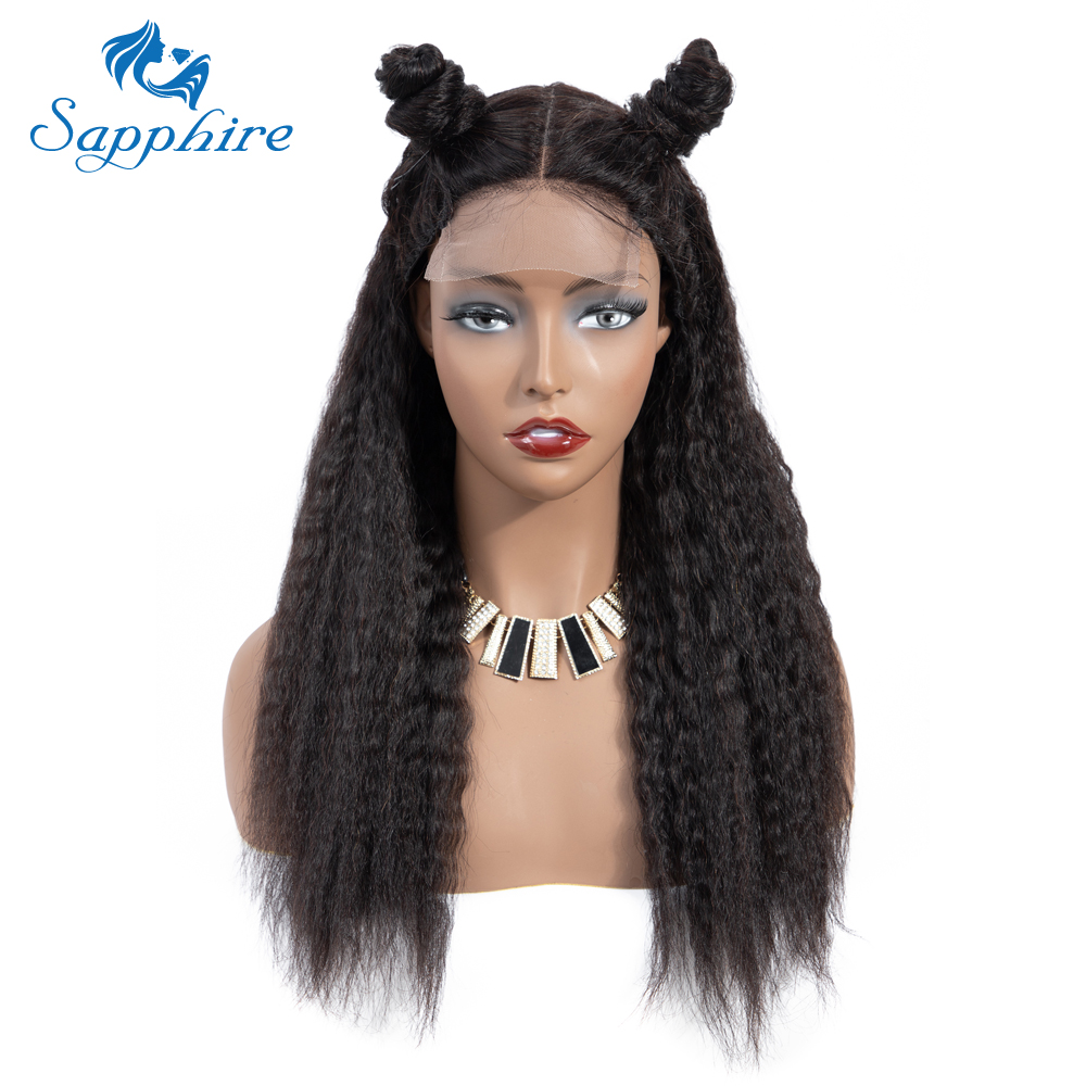 Sapphire 4*4 Deep Part Lace Wigs Brazilian Human Hair Wigs Pre Plucked Yaki Straight Kinky Straight Lace Closure Wigs For Women-in Lace Front Wigs from Hair Extensions & Wigs