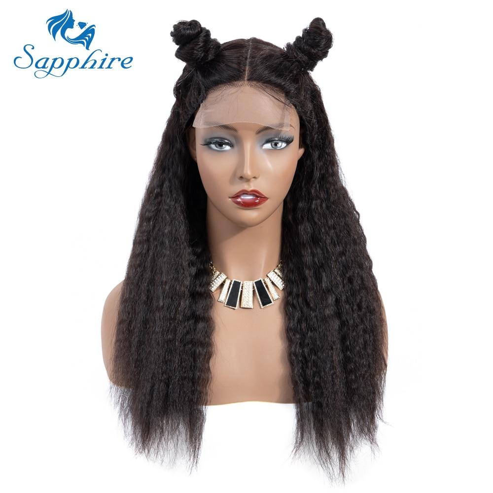 Sapphire 4*4 Deep Part Lace Wigs Brazilian Human Hair Wigs Pre Plucked Yaki Straight Kinky Straight Lace Closure Wigs For Women