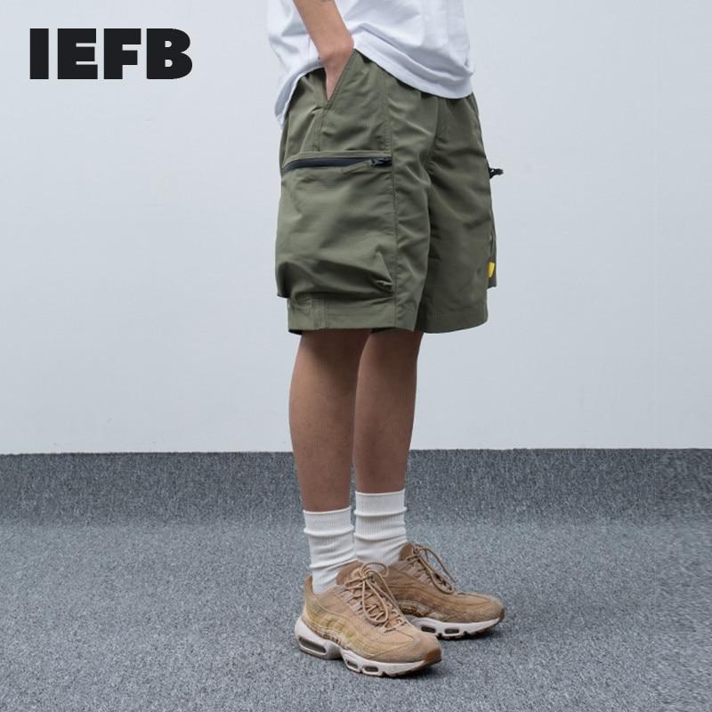 IEFB /men's wear 2020 summer casual overalls loose big size color block patchwork zipper pocket trousers men's shorts 9Y1079