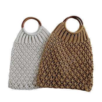 Hand Woven Women Eco Shopping Bags Boho Handbag Bali Basket Vintage Rattan Straw Beach Mesh Shoulder Bag Purse Organizer 6