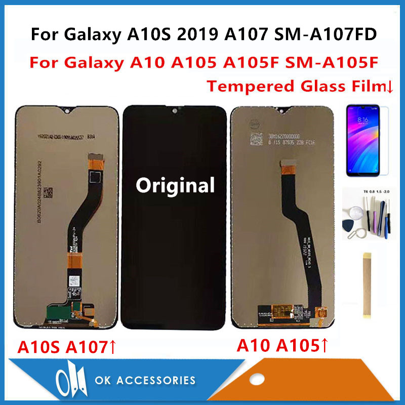 Samsung Galaxy A10 A105 A105F SM-A105F/A10S 2019 A107 SM-A107FD SM-A107DS lcd ekran + dokunmatik ekran digitizer kitleri ile