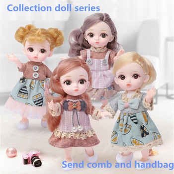 16CM Bjd Doll 1/12 Moveable Joints DIY Girls Dress Up 3D Eyes With Clothes Shoes Mini Fashion Princess Doll Toys Girls Gift fashion sd bjd doll girls doll with clothes blue eyes 18 inch cute princess doll toys for children s new year gift