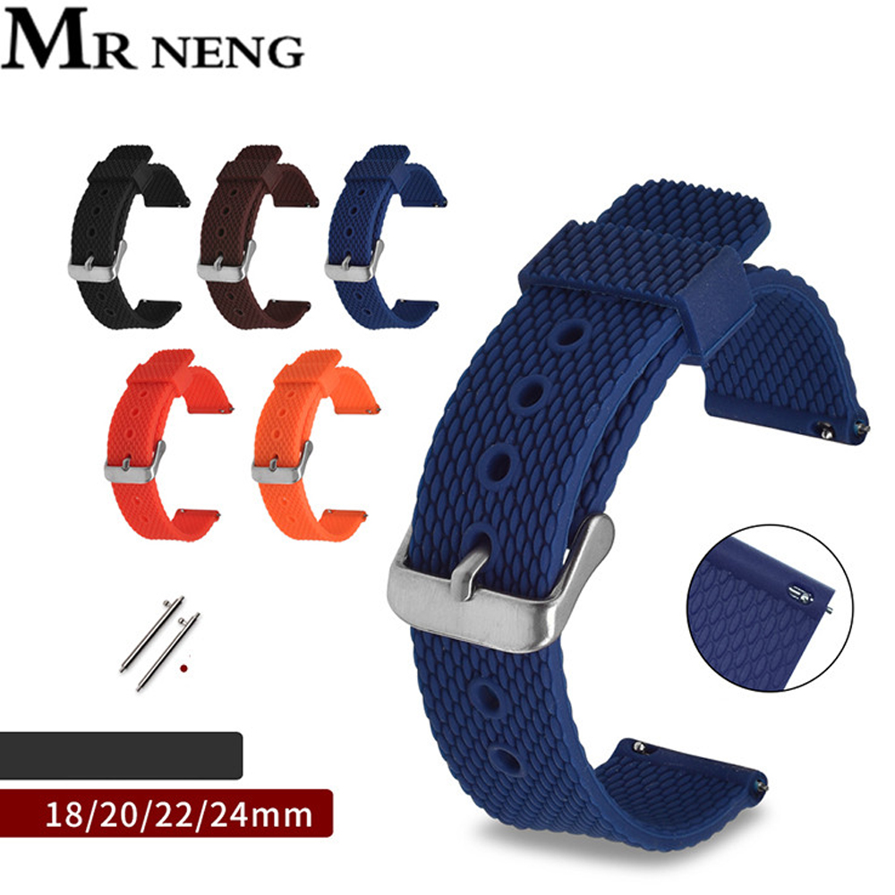 Silicone Watchband Diver Watch Band Rubber Watch Strap With Brushed Stainless Steel Buckle Clasp Watch Strap 18 20 22 24mm