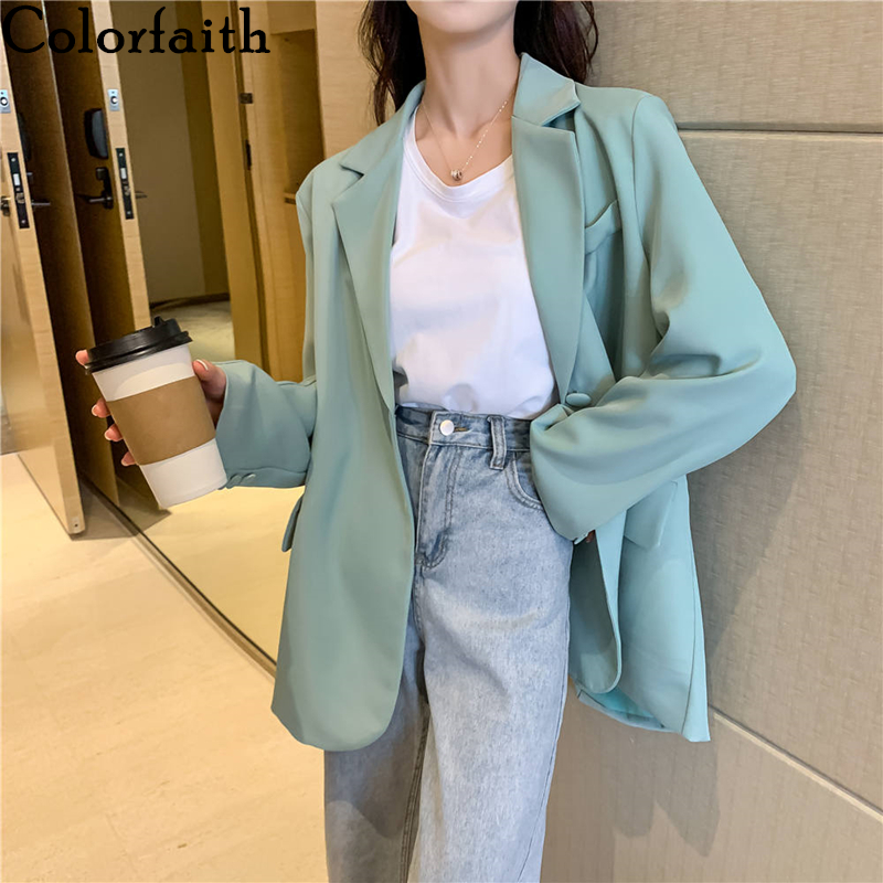 Colorfaith New 2020 Summer Women's Blazers Casual Solid Multi Colors Jackets Notched High Waist Pockets Loose Wild Tops JK20019