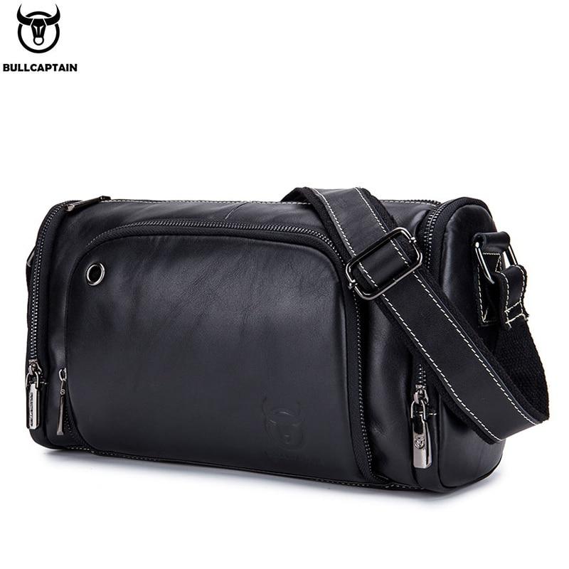 BULLCAPTAIN Leather Men's Sports Bag Fitness Shoulder Bag Retro Handbag Travel Bag Large Capacity Laptop Bag Cross Section 01