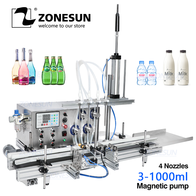 ZONESUN 4 Nozzles Magnetic Pump Automatic Desktop Liquid Water Filler With Conveyor Alcohol Ethanol Perfume Filling Machine