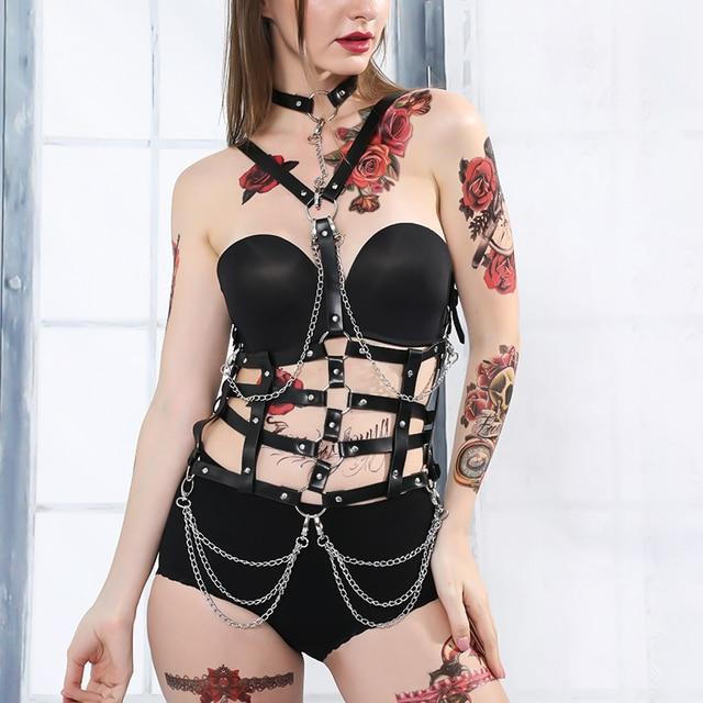 Fullyoung Taille Pu Leder Harness Bondage Gürtel Punk Brust Körper Hosenträger Riemen Frauen Sexy Körper Käfig Gürtel Dessous Harajuku