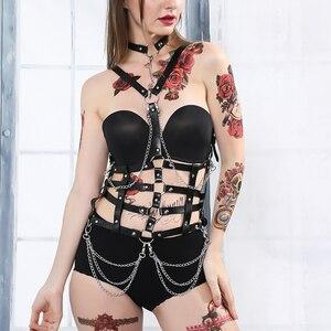 Image 1 - Fullyoung talia Pu skórzana uprząż Bondage pas Punk klatki piersiowej ciała szelki pasy kobiety Sexy ciała klatka pasy bielizna Harajuku