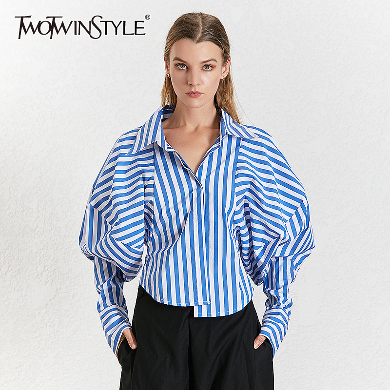 TWOTWINSTYLE Korean Striped Women's Shirt Lapel Collar Puff Sleeve Loose Asymmetrical Casual Blouses Female 2020 Fashion New