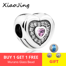 925 Sterling Silver original love heart charms Beads with crystal CZ Fit Authentic pandora bracelet Jewelry for Valentines Day