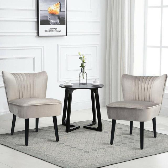 Set of 2 Armless Accent Leisure Chairs  3