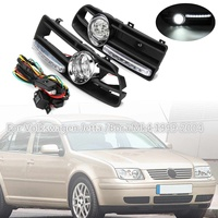 Hot New 2pcs 12V 55W LED Fog Lamp Day Running Light and Front Bumper Grill for Volkswagen Jetta Bora Mk4 1999 2004