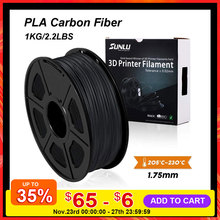 SUNLU PLA Carbon Fiber Premium 3D Printer Filament Extremely Rigid Carbon Fiber 1.75mm +/- 0.02mm 1 KG (2.2 lb)