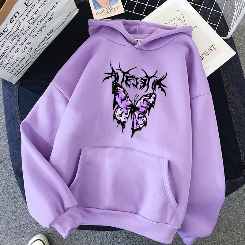 pink clothing black butterfly oversized Women's Hoodies Print Kawaii Sweatshirt Hoodies for Women top Hoody clothes Full Sleeve 2