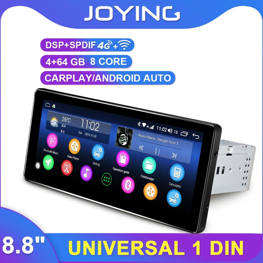 Carplay 8.8 1 Din Android Car Stereo Radio GPS DSP SPDIF 4G SIM WiFi Subwoofer Steering Wheel Control DAB DVR Backup Camera OBD image
