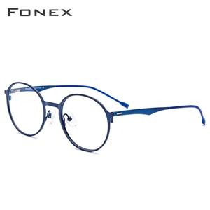 Image 2 - ラウンド処方メガネ、超軽量のチタン合金近視メガネフレーム、韓国スタイル無ねじ処方メガネ、男女共用 8821