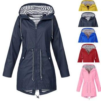 Women Jacket Solid Rain Coat Outdoor Plus Waterproof Hooded Outdoor Raincoat Windproof Zipper Jacket