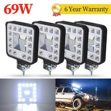 4 sztuk 69W samochodów listwa LED lampa robocza lampa do jazdy Offroad łódź ciągnik siodłowy LED światło robocze 4x4 SUV światła przeciwmgielne 12V 24V reflektor ATV