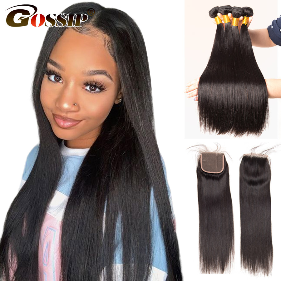 Straight Brazilian Hair Weave Bundles With Closure Gossip Human Hair Closure With Bundles Hair Extension Remy Hair Bundles