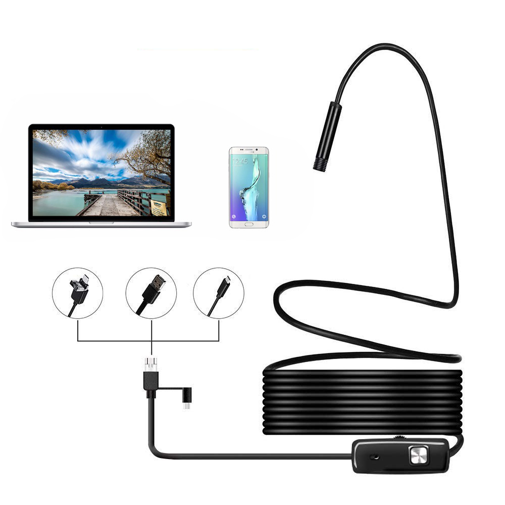 720P Endoscope 5.5mm Lens PC Android USB Endoscope Camera 1m/2m/5m Wire Waterproof Led Car Inspection Camera Snake Tube Endoskop