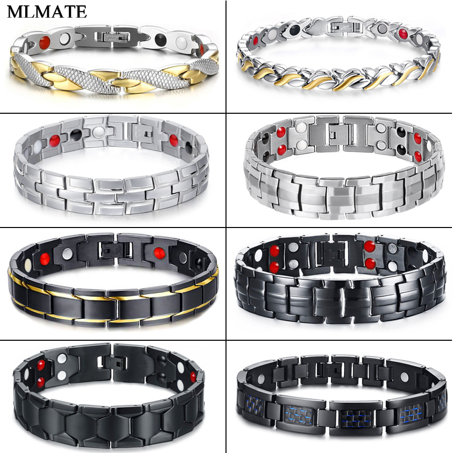 Women Men Health Care Germanium Magnetic Bracelet for Arthritis and Carpal Tunnel Stainless Steel Power Therapy Bracelets Wholes