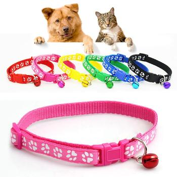 Fashion Dog Puppy Cat Kitten Buckle Cute Paw Print Bell Adjustable Pet Collar image
