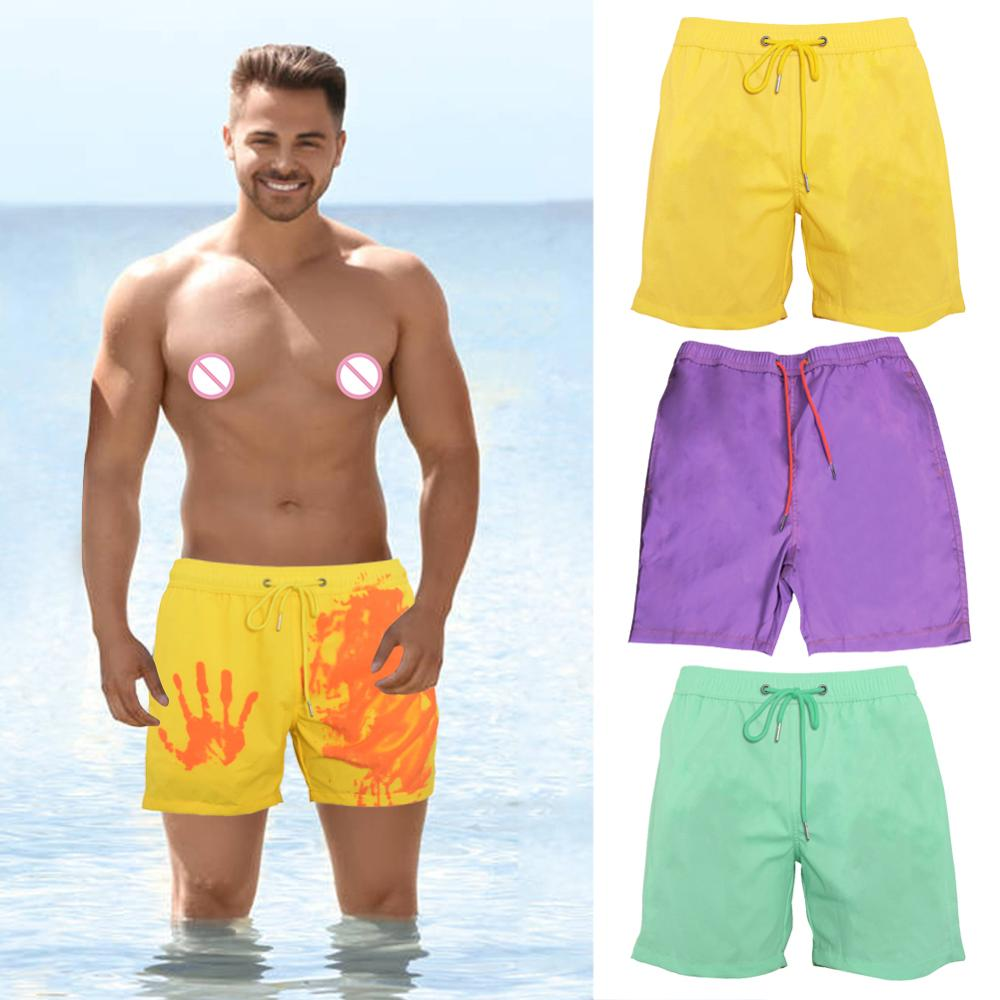 Summer Men Swimming Trunks Change Color Beach Shorts Drawstring Quick Drying Bathing Swimwear Short Pants XS-L