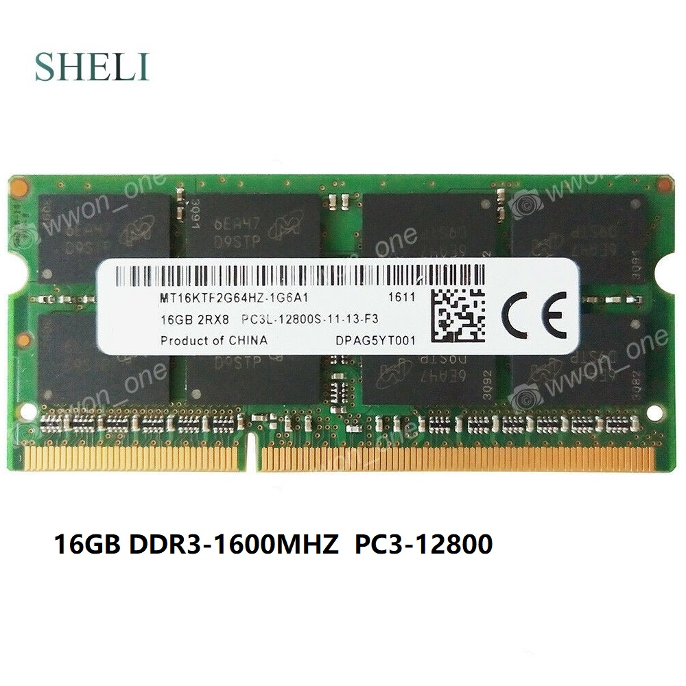 SHELI 16GB PC3L-12800S DDR3L-1600MHz 1.35V 204PIN NON-ECC SO-DIMM Laptop Memory