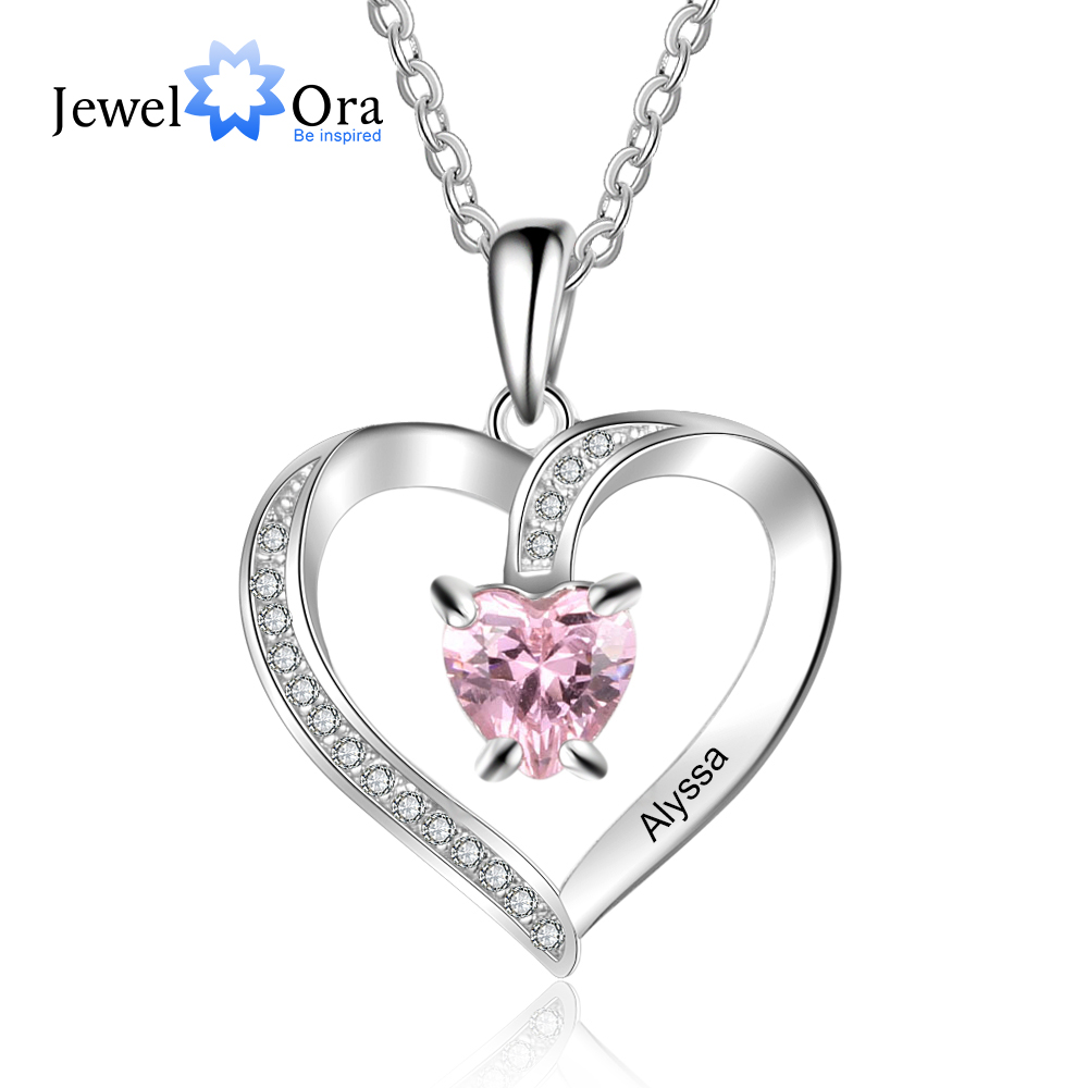 Personalized Name Necklaces for Women Heart Pendant Necklaces with Custom 1 Birthstone Anniversary Jewelry Gifts (NE103356)