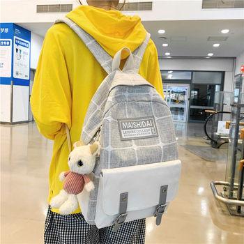 Female School Bags Teenager Girl Backpack Women Splice Plaid Fashion Middle High Schoolbag College Student Bookbag Teen  New
