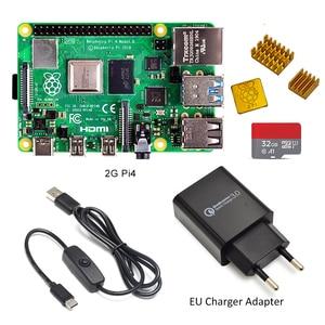 Image 4 - ラズベリーパイ 4 モデル b キットの基本的なスターターキットと在庫電源スイッチラインタイプ c インタフェース eu/米国充電アダプタとヒートシンク