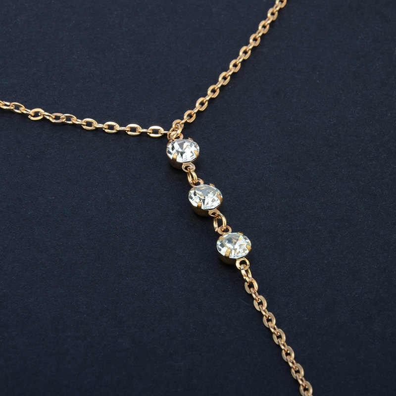 คริสตัลสร้อยคอจี้กลับเครื่องประดับ Charms ง่ายยาวสร้อยคอ Choker ผู้หญิงแฟชั่นสี Collares bijoux femme