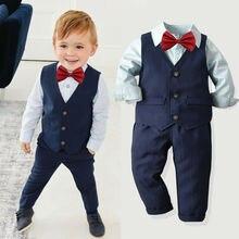 Детская одежда из 4 предметов комплекты для мальчиков однотонные рубашки Топы+ жилет+ брюки свадебный смокинг деловой костюм