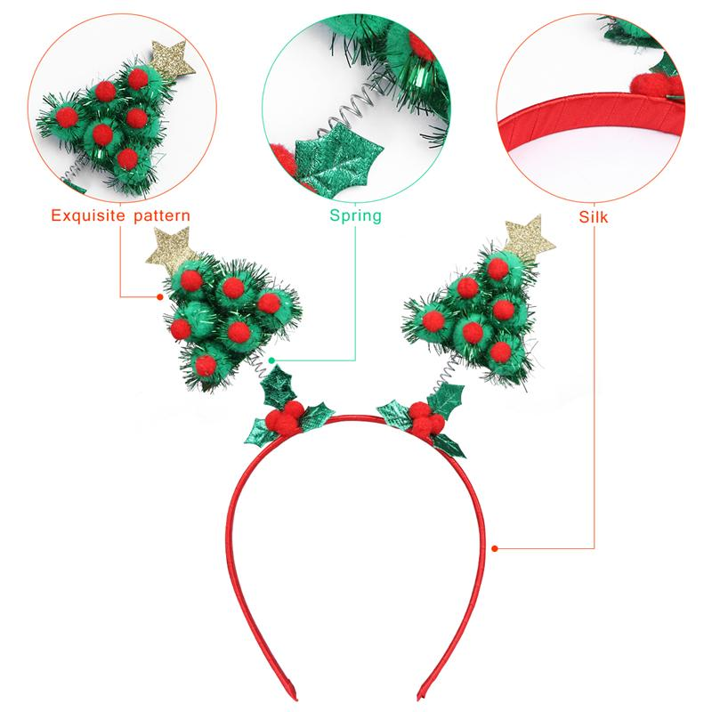 4PCS Christmas Headbands Cute Party Hair For Children Kids