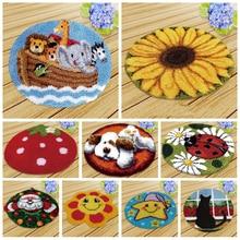 Prajna Latch Hook Rug Kits Carpet DIY Embroidery Foamiran For Needlework Round Cushion Cartoon Handmade Cross Stitch 50*50 CM F