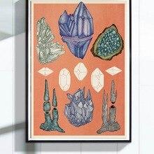 Vintage Mineral rocas geométrico cristales ilustración Retro Poster lienzo pintura DIY papel de pared carteles decoración del hogar regalo