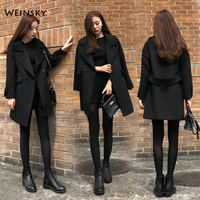 Weinsky Women Coats Autumn Winter Coat 2019 Fashion Overcoat Office Ladies Double Breasted Loose Blac