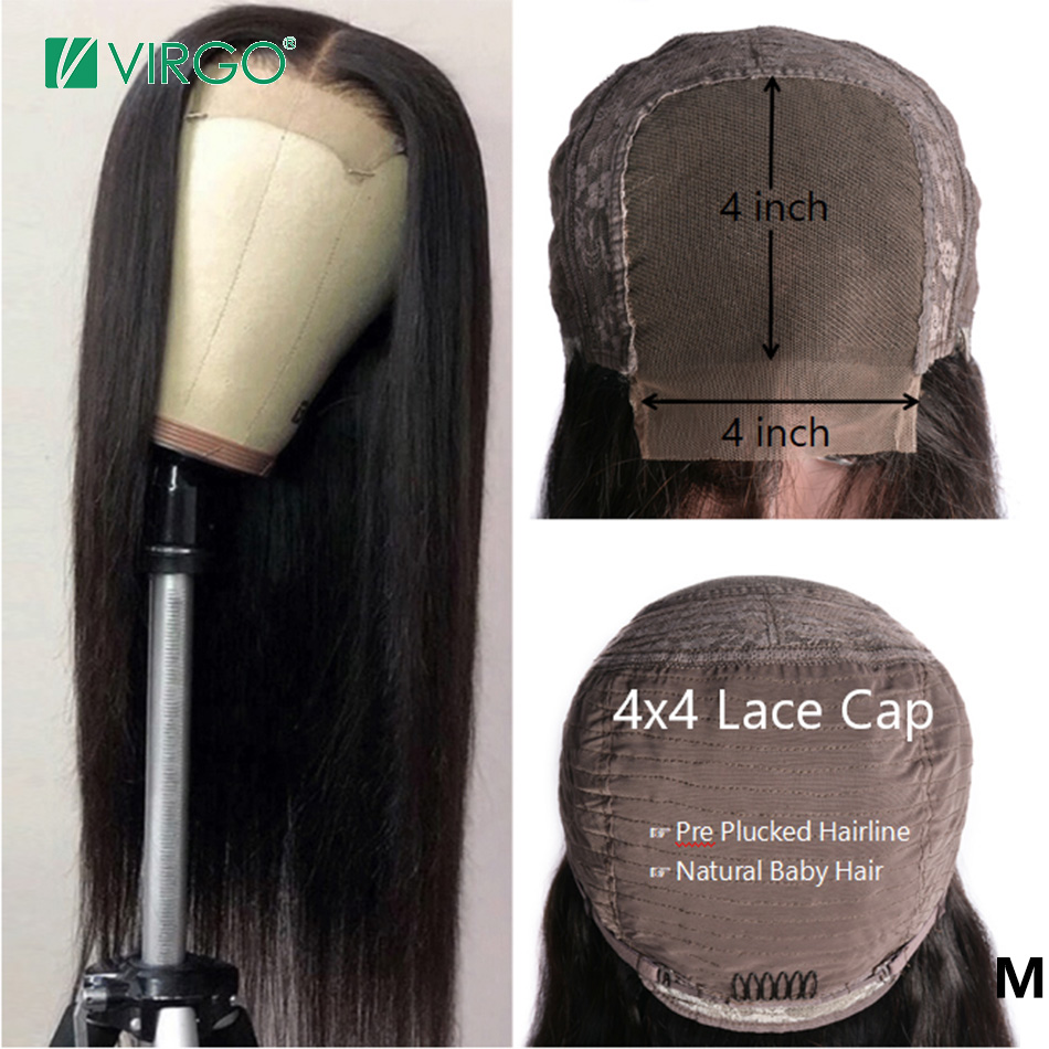 Straight Human Hair Wigs 4x4 Lace Closure Wig With Baby Hair For Women Middle Mongolian Remy 10-24inch 150% Density Virgo Hair