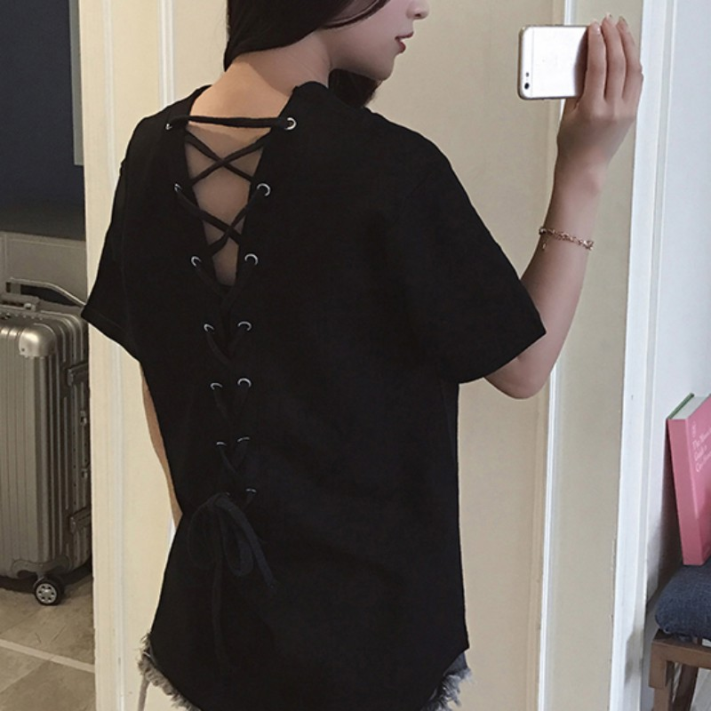 Korean <font><b>V</b></font>-<font><b>neck</b></font> personality <font><b>sexy</b></font> backless cross <font><b>bandage</b></font> loose wild short-sleeved <font><b>T</b></font> <font><b>shirt</b></font> <font><b>Summer</b></font> sacual solid Streetwear clothes image