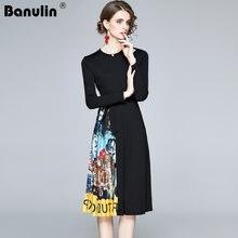 Платье женское Плиссированное с поясом длинным рукавом и винтажным