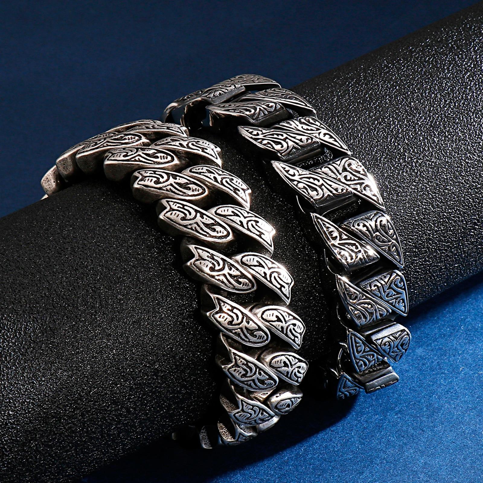 Fongten Vintage Style Bracelet Men's Unique Carving Cuban Link Chain Stainless Steel Men Bracelets Bangle Fashion Jewelry