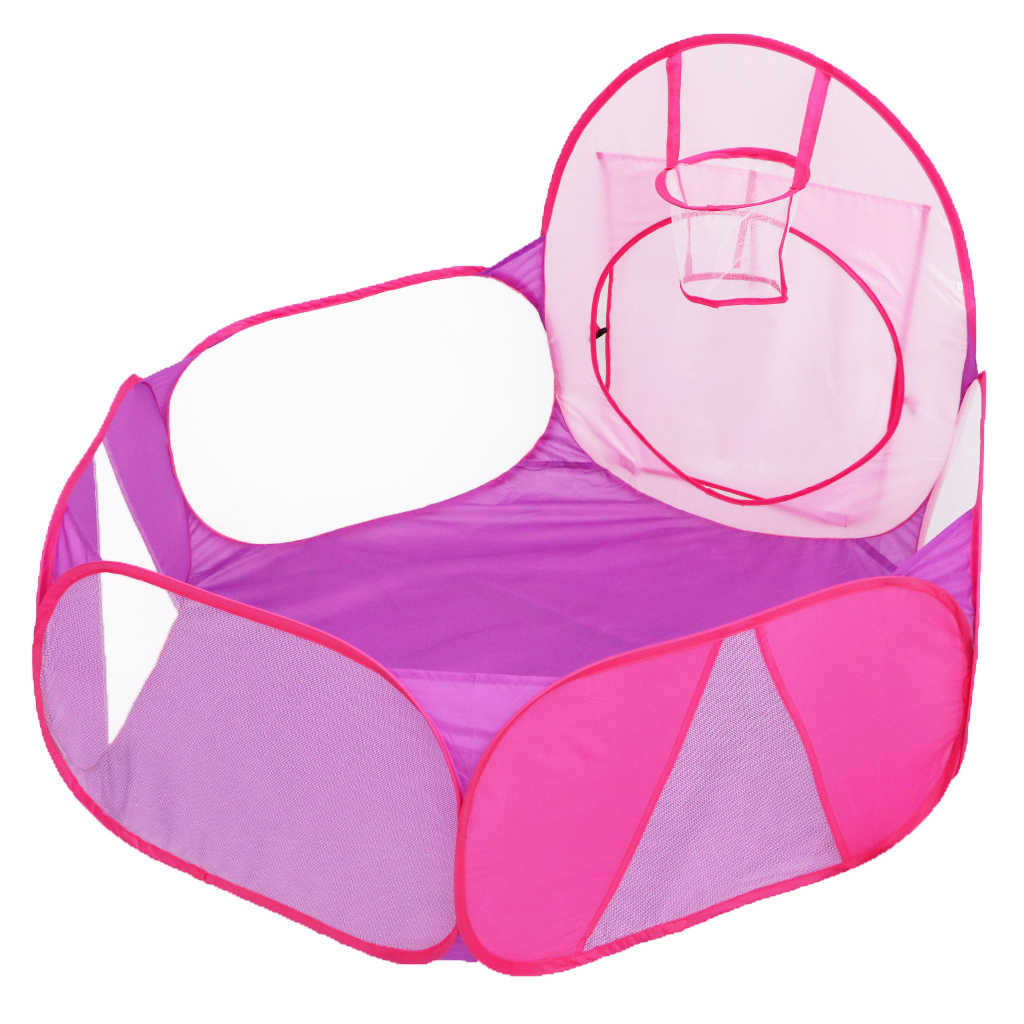 Kids Toddler Pink Purple Ball Pit Playpen Play Tent With Mini Basketball Hoop