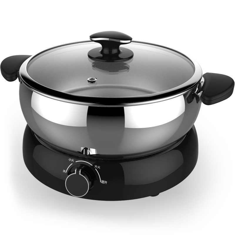 4L Capacity Korean Style Household Multifunctional Stainless Steel Electric Hot Pot 3speed Firepower Adjustment Electric Skillet