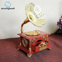 Caja de música de gramófono rojo Vintage Strongwell, caja de música mecánica con movimiento, mecanismo giratorio, regalo de boda
