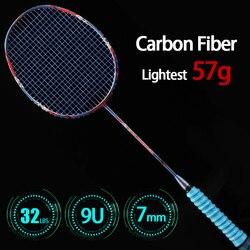 النمط الصيني المهنية خفيفة 9U 57G كامل كرة تنس ريشة من ألياف الكربون المضارب مع حقائب برباط ماكس 32LBS مضرب الرياضة