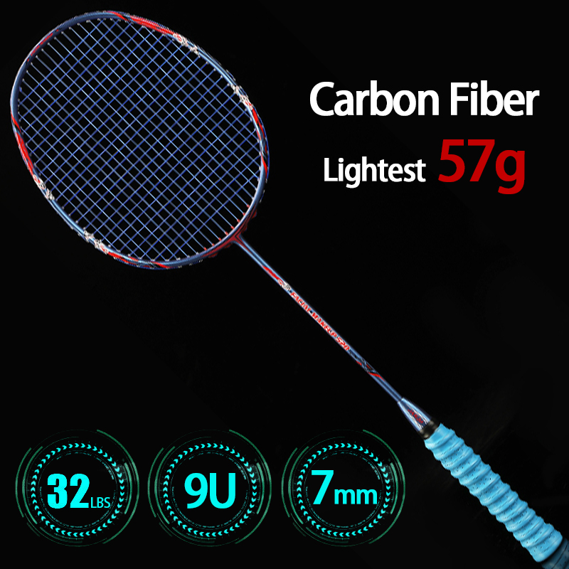 Chinese Style Professional Ultralight 9U 57G Full Carbon Fiber Badminton Rackets With String Bags Max 32LBS Racket Sports Padel