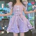 Japanese Kawaii Purple Plaid Mini Dress Women Harajuku Sweet Bow Sashes Short Sleeve Dress Princess Ruffle Dress Summer 2021 New